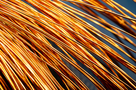abstraction copper bright wires in a large number of curved arc, copper bends Stock Photo