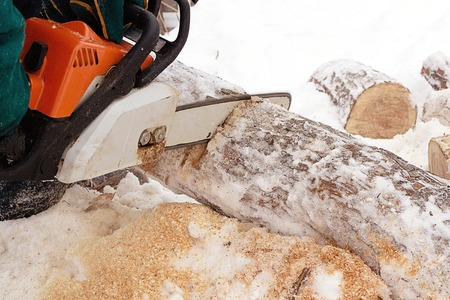 log wood sawing with a chain saw in winter, saw orange and snow