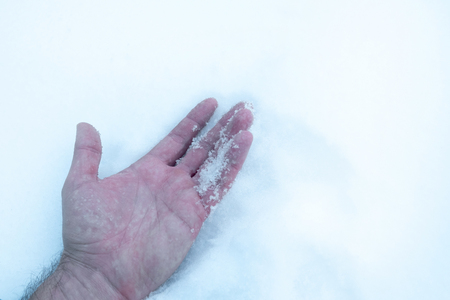 the man's hand in the snow, frozen got hypothermia frostbite and died
