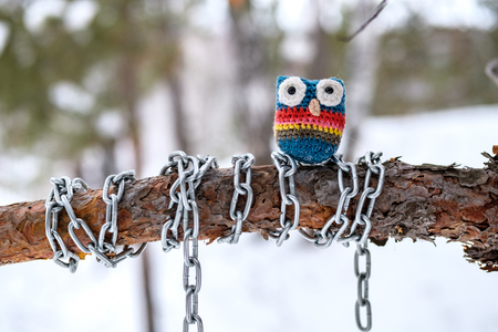 owl made of wool on a tree branch which is wrapped in a chain, the background of the winter forest is blurred