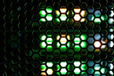 abstract background grid consisting of hexagonal shapes behind which the green and orange light. station equipment standing in the closet telecommunication technologies