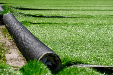 grass for the new stadium rolls of synthetic artificial turf. start of work on covering the stadium for playing football