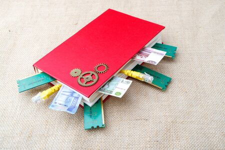 a red book on a fabric texture from the book in different directions visible money and RAM slats. good book