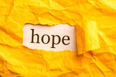 torn piece of paper from under which the inscription hope is visible. there was hope