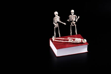 on the book lies a skeleton next to two skeletons are standing and discussing something. the dead bury their dead