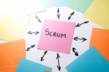 a tear-off sheet of paper on which the scrum is written, from it are arrows drawn with a marker in different directions. Group and Development Specialist