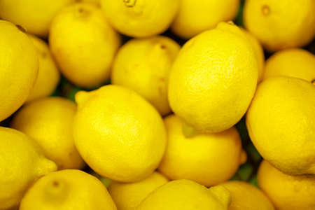 many lemons in one plane lying on top of each other. lemons in the store