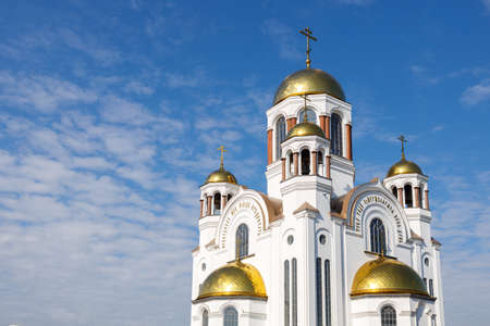 Ekaterinburg, Russia - September. 08 2020 the upper part of the church on blood in the city in the Urals 新闻类图片