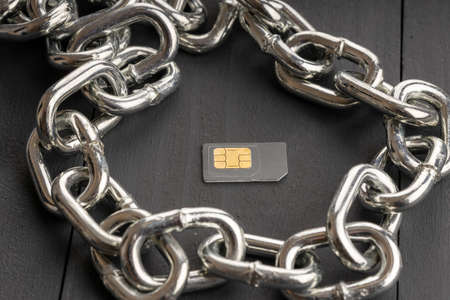 one SIM card is surrounded by a steel chain, the subscriber is protected