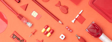 banner of red items on red background, household items and plasticine shapes