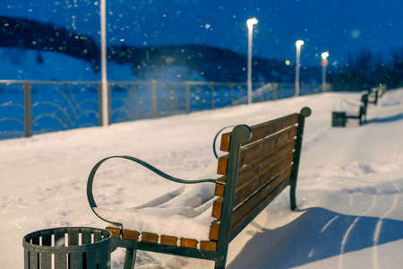 empty benches in a winter evening during a snowfall in the park. rear view of bench and lantern lighting