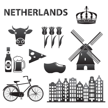 Netherlands icon set isolated on white background. Holland and Amsterdam symbols: wind mill, tulips, bicycle, beer. Template for travel design. Vector illustration. Ilustração