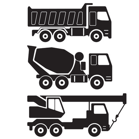 truck concrete mixer: Dump truck. Concrete mixer truck. Truck crane. Black silhouette on white background. Construction Icon or sign set. Vector Illustration.