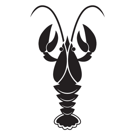 crawfish: Crawfish or lobster silhouette isolated on white background. Vector icon or sign.