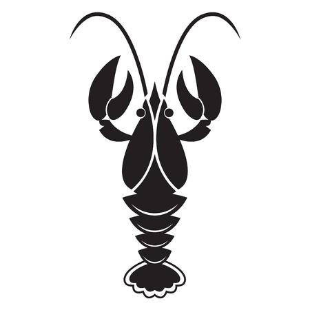 Rivierkreeft of kreeft silhouet geïsoleerd op een witte achtergrond. Vector pictogram of teken. Vector Illustratie