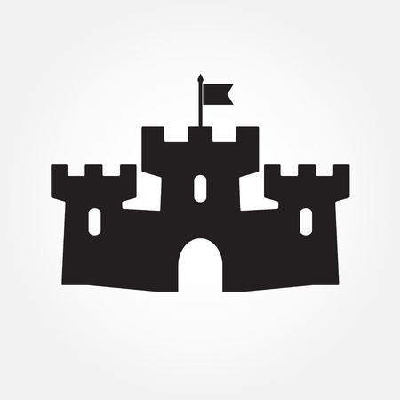 residences: Castle icon or sign isolated on white background. Vector illustration. Illustration