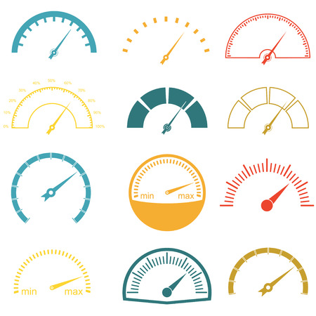 rpm: Speedometer or gauge icons set isolated on white background. Infographic and car instrument design elements. Colorful vector illustration. Illustration