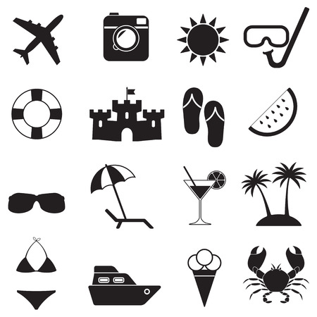 sandal tree: Beach icons and Summer signs set isolated on white background. Travel and vacation vector illustration.