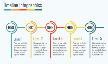 cronologia: Infografía plantilla de línea de tiempo. elementos aislados de diseño. Ilustración vectorial colorido. Vectores