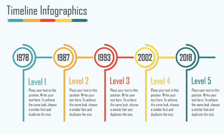 line graph: Timeline Infographics template. Isolated design elements. Colorful vector illustration. Illustration