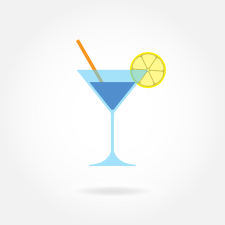 Cocktail icon or sign. Colorful Martini glass with lemon and drinking straw isolated on white backround. Vector illustration.