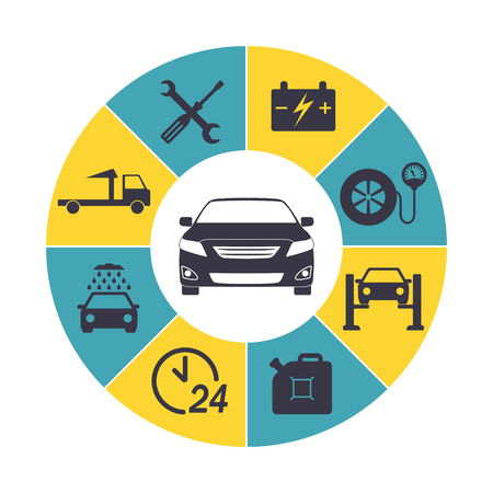 the wrecker: Car service Infographics. Auto service and repair icons isolated in round chart. Vector illustration. Illustration