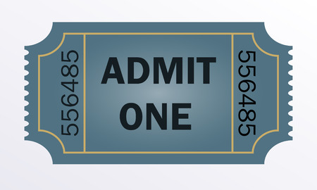 admit: Admit one ticket isolated on white background. Vector illustration.