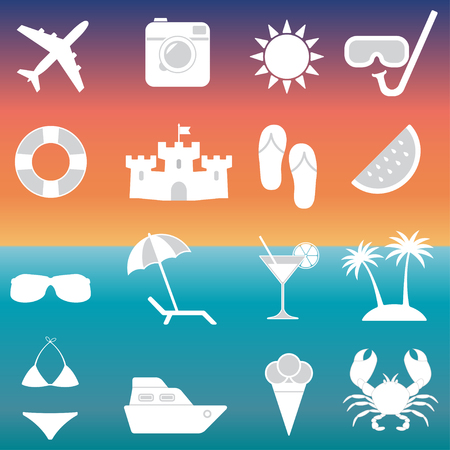 sandal tree: Beach icons and Summer signs set. Travel and vacation vector illustration.
