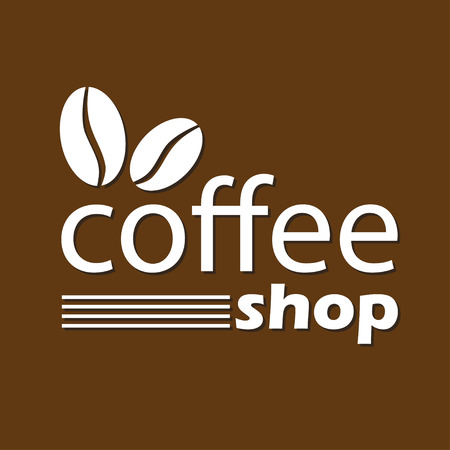coffee beans isolated: Coffee shop sign, emblem or label with coffee beans isolated on brown background. Vector illustration.