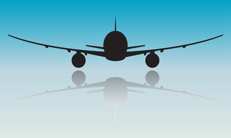 Airplane or aircraft silhouette on blue background. Illustration