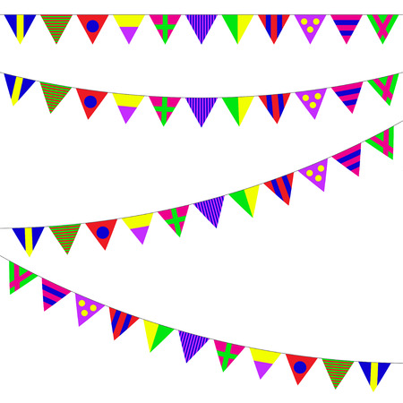 Bunting and garland set. Colorful festive flags or pennants. Vector illustration on white background. Elements for celebrate, party or festival design.