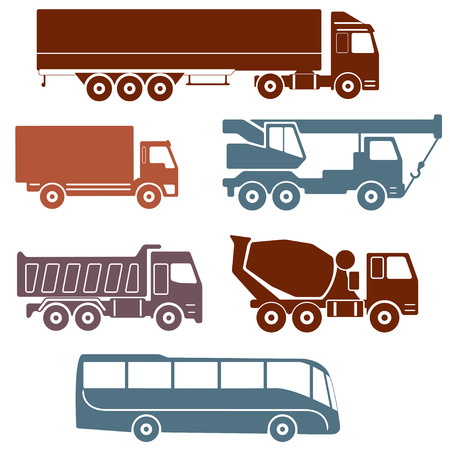 truckload: Truck icons set isolated on white background. Vector collection of vehicles: Concrete mixer truck, Truck crane, Dump truck, Truck with cargo container, Lorry and Bus.