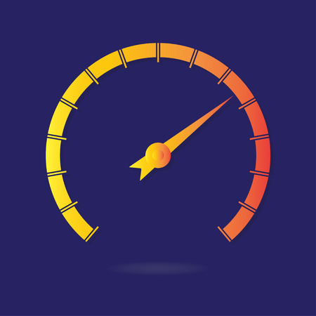 Speedometer or tachometer with arrow isolated on dark background. Colorful Infographic gauge element. Vector icon or sign. Illustration