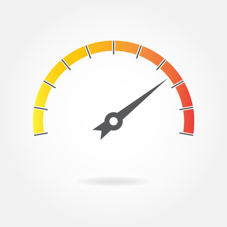 Speedometer icon or sign with arrow isolated on white background. Colorful infographic gauge element. Vector illustration.