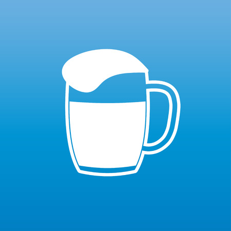 Mug of beer icon or sign. A glass of beer with white foam atop isolated on blue background. Vector illustration.