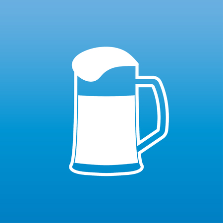 atop: Mug of beer icon or sign. A glass of beer with white foam atop isolated on blue background. Vector illustration.
