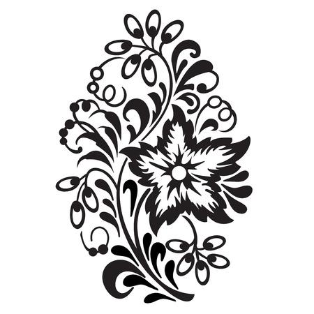 Vector flower pattern on white background. Ornamental design element. Illustration