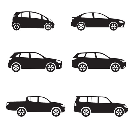 Cars icon set. Different vector car forms.