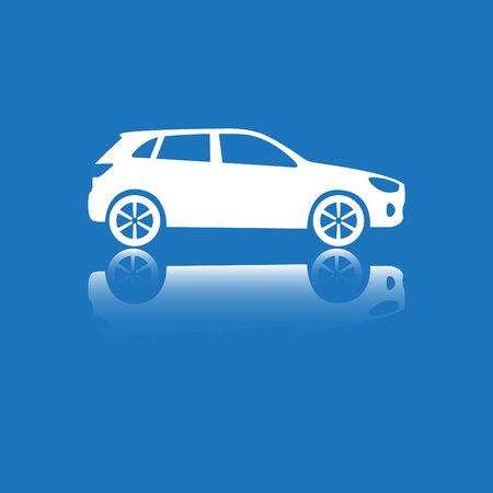 Car Icon. Vector silhouette. White on blue.