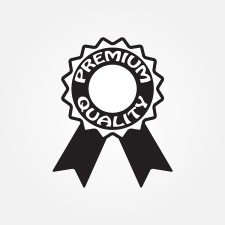Premium quality label icon or sign with ribbon. Vector illustration.