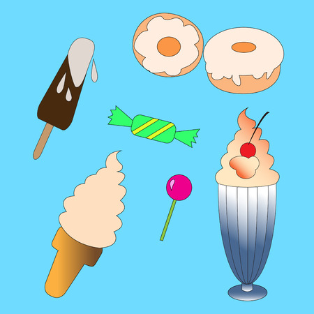 Sweets set: Ice cream, Candy, Donut. Vector Illustration. Illustration