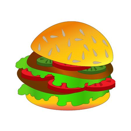 Hamburger. Vector illustration.