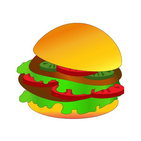 Hamburger. Vector illustration on white background. Illustration