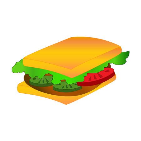 cheddar: Sandwich on white background. Vector illustration. Illustration