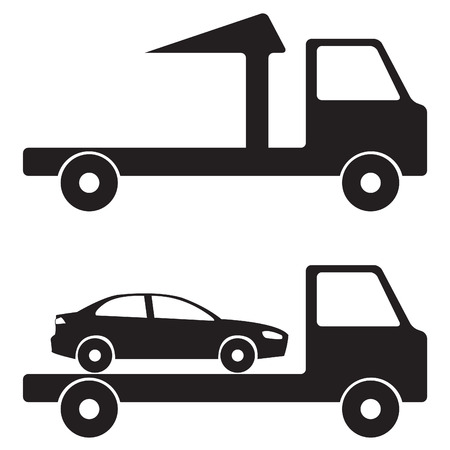 the wrecker: Tow truck wrecker illustration. icon or sign. Vector black on white truck icon or sign. Illustration