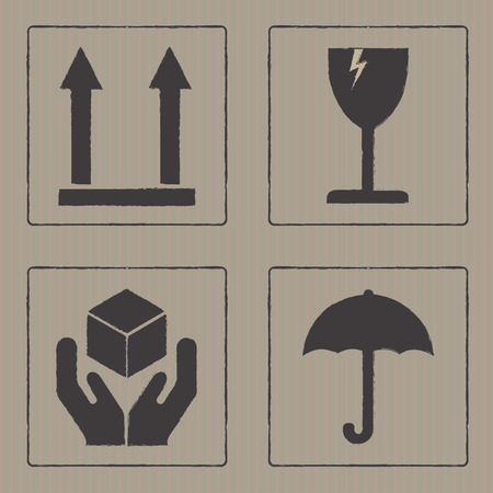 cardboard texture: Packaging icons or sign set. Fragile symbols isolated on cardboard texture. Vector illustration. Illustration