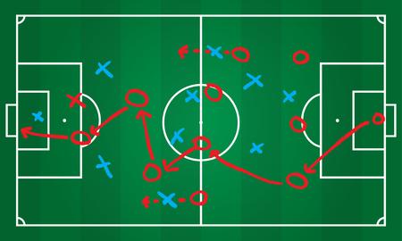 Soccer or football game strategy plan. Realistic blackboard. Vector illustration. Sport infographics element. Vettoriali