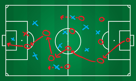 Soccer or football game strategy plan. Realistic blackboard. Vector illustration. Sport infographics element. Ilustração