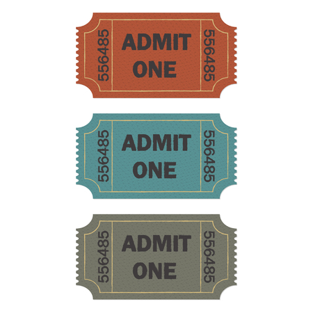 single entry: Admit one ticket set isolated on white background. Colorful vector illustration of cinema or theater retro ticket. Illustration