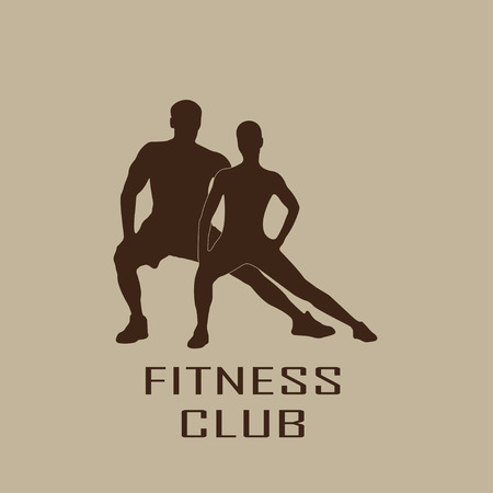 sportsmen: Muscled man and woman black silhouettes isolated on white background. Fitness symbol or label. Vector illustration.